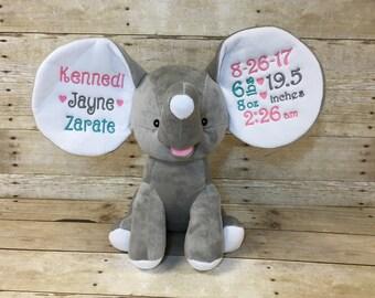 Personalized Elephant, Personalized Baby Gift, Dumble, Embroidered Elephant, Embroidered Baby Gift, Birth Stat Elephant, Birth Stat Animal