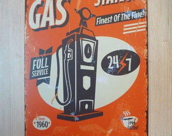Vintage Style Gas Station 24/7 Tin Sign, Metal Sign Advertisement, Petrol Sign, Car Service Sign Display, Reproduction Metal Signs, Retro