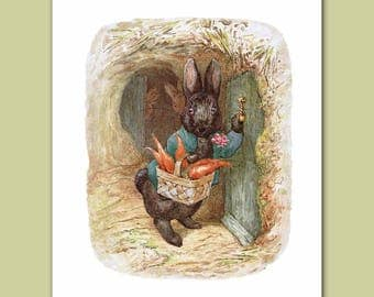 "Baby Nursery Print, Kids Wall Decor (Beatrix Potter Art) ""Knock Knock"" -- Peter Rabbit's Friends"