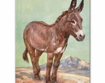 "Donkey Art Print (Southwestern Decor, Western Wall Art) Farm Animals Print --- ""Loyal Friend"""