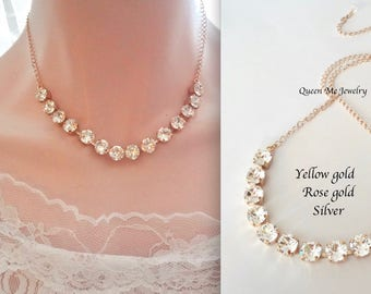 Gold crystal necklace, Brides necklace, Swarovski crystal necklace, Gold crystal necklace, Wedding necklace, Gold statement necklace, SOPHIA