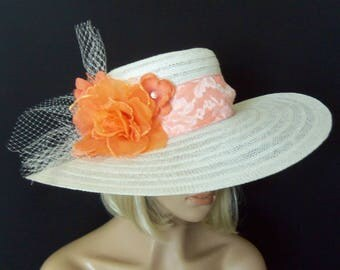 White and Orange Hat - Off White Ladies Hat