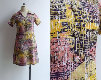 10-25% OFF Code In Shop - Vintage 70's 'Graffiti' Abstract Print Silky Collared Shift Dress XS or S