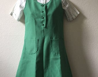 Girl Scouts uniform, girls size 12, peter pan collar, two piece uniform, green jumper, girl scouts blouse, 12 year old, 1960s, 1970s dress