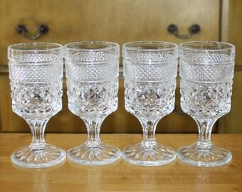 Vintage Set of 4 Anchor Hocking Wexford Claret Wine Glasses