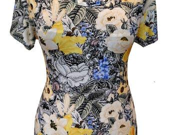 Drawn Floral Shirt, Summer Shirt, Plus Size Shirt, Cotton Shirt, Designer Shirt, Women Shirt, Black and Yellow, Flowers, Printed Shirt