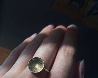 Brass Full Moon Silver Ring Size 6 Mystical Fairy Mystic