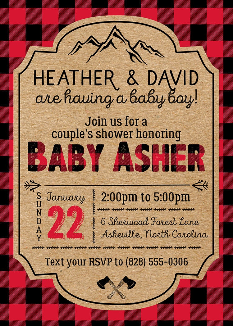 Red and Black Lumberjack Couples Baby Shower Invitation - Buffalo ...