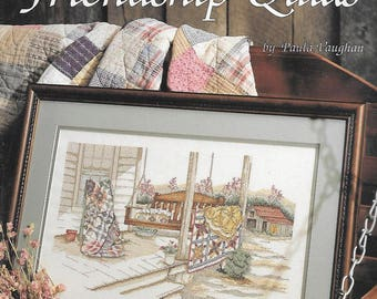 Friendship Quilts Counted Cross Stitch Pattern Chart by Paula Vaughan, Book Thirty-One, 1989 Leisure Arts Leaflet 854, country quilts porch