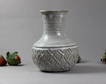Ceramic Vase - Dark Stoneware - Home Accent - Stamp Texture