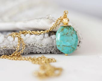 Kingman Turquoise Necklace - Genuine Turquoise Jewelry - December Birthstone - Turquoise Necklace Gold - Kingman Turquoise Pendant