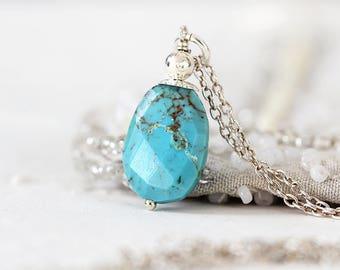 Arizona Turquoise Pendant - Real Turquoise Necklace - December Birthstone - Arizona Turquoise Necklace Silver - Natural Turquoise Necklace
