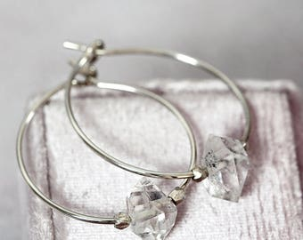 Herkimer Diamond Wedding Earrings - Gemstone Wedding Earrings - Crystal Bridal Earrings - Silver Hoop Earrings - Modern Wedding Jewelry