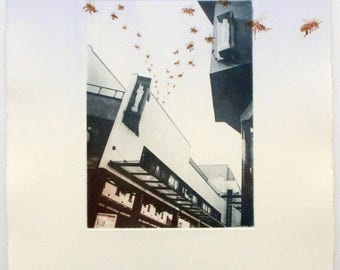 Urban Apiary, City Bees. Photo etching with drypoint. Exeter art. Original printmaking
