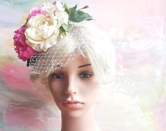 Large Floral fascinator. Flower boho hat. Romantic flowergirl bridesmaid raceday teaparty