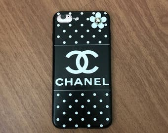 iPhone 7 Plus inspired Chanel Designer Case w/Matching Screen Protector Black & White Polka Dot Flower Embellishment