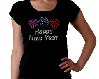 Happy New Year Fireworks RHINESTONE t-shirt tank top  S M L XL 2XL - Bling New Year's Eve Party Fire Works Ball Drop Celebrate