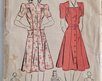 "Vintage 1940s Misses' Advance Dress Pattern 2642 Size 44"" Bust 16 18"