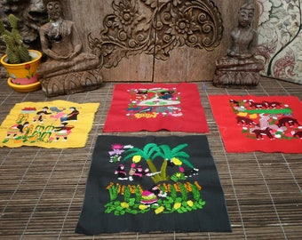 Embroidered Hmong Folk Art Textile,Set Of 4,  Hand Made Embroidered Textile, Hmong Textile , Tribal Textile