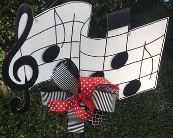 Music Note Door Hanger, Treble Clef,  Band Room Decor, Choir Room Decor, Musical Note Decor, Music Teacher, Piano Teacher