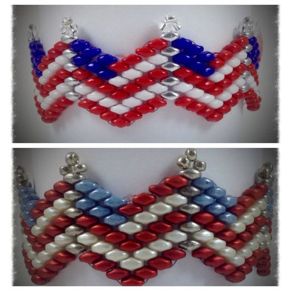 Patriotic spirit bracelet pattern 4th of july flag beaded for Patriotic beaded jewelry patterns
