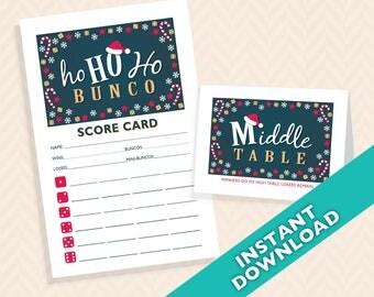 Ho Ho Ho Santa Bunco Scorecard and Table Marker Set (a.k.a. Bunko, score card, score sheet)