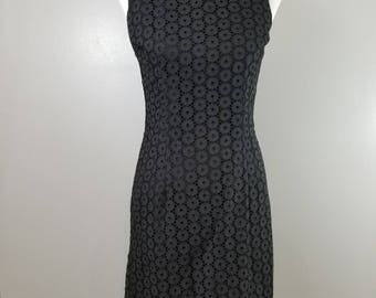 1950s 1960s LBD Little Black Dress Eyelet Lace Wiggle Dress Vintage Size 11 LBD
