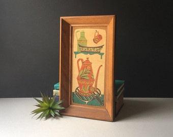 Vintage Robert Darr Wert Hand Printed Linen, Framed Folk Art, Mid Century Decor, Linen Print, Screen Print, Wooden Frame, MCM Art, Boho Art