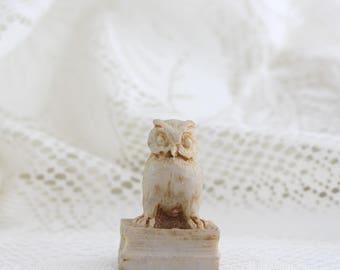 Vintage Resin Owl Figurine - Miniature Faux Bone Carved Owl Netsuke