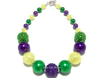 Toddler or Girls Purple, Green and Yellow Chunky Necklace - Kids Mardi Gras Necklace - Dark Purple and Green Necklace - Carnival Necklace