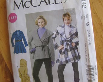 Uncut McCalls Sewing Pattern 6442 - Misses Coats and Belt - Size 6-14