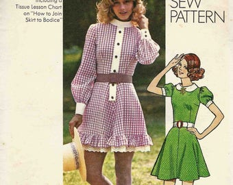 Simplicity 9803 Junior Girls Teens mini dress flared skirt peter pan high collar puff sleeves self ruffle frill Size 12 How to Sew pattern