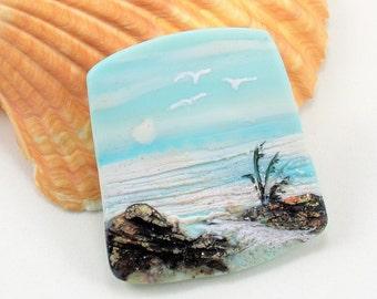 StudioStJames-Handmade Polymer Clay 32x38mm Focal Cabochon Pendant-Bermuda Shoreline with Seagulls-Nautical Beach-Aqua Blue Bead-PA 100652