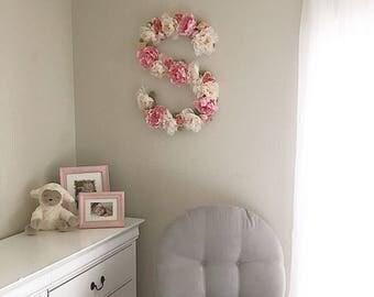 """Large Floral Letter 15"""" 25"""", Large Flower Letter, Floral Number, Custom Floral Letter Nursery, Shabby Chic Decor, Floral Monogram, Birthday"""
