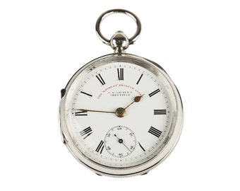Sterling Silver Antique Pocket Watch, English Lever, Dated 1899, Excellent Condition