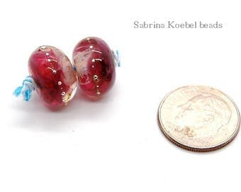 Artisan lampwork bead pair, rose colored glass with silver droplets, destash beads,handmade kiln fired,jewelry making hobby craft,1 pair