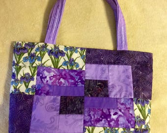 Purple Handmade Quilted Tote with Iris Print, Fully Lined with Pockets