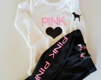 Baby Girl Coming Home Outfit, Mommy and Me outfit, Newborn girl clothing set, Baby girl shower gift, PINK clothing, Newborn photo outfit