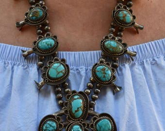 Price reduction! Huge GORGEOUS Magnificent Vintage Navajo Turquoise Squash Blossom Sterling Necklace 314 grams