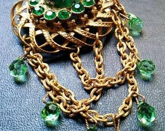 "Art Nouveau Green Art Glass Brooch Dangling Crystal Beads Gold Basket Weave 3.5"" Vintage"