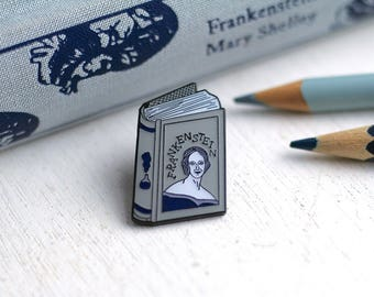 Book Pin Mary Shelley Enamel Pin Frankenstein Enamel Pin Badge Book Enamel Pin Book Worm Author