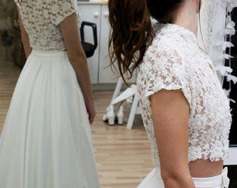Vintage Wedding Dress,Bohemian Wedding Dress,Beach Wedding Dress,Pearl Wedding Dress,Mikado skirt