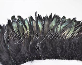 Wholesale / bulk feathers - IRIDESCENT Black rooster schlappen feathers, real feathers strung for millinery, crafts / 5-7 in long / FB54-5