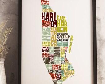 Manhattan neighborhood map print, available Framed or Unframed, Manhattan typography art, Manhattan map art, Manhattan wall décor