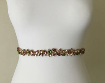 Champagne rhinestone, Blush pink green Rhinestone Sash, Belt, head bridal belt, bridesmaid, multi color rhinestones, cluster