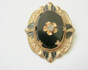 Ornate Early 20th Century Black Beveled Glass Enamel & Rhinestone Brooch / Victorian Revival / Antique  / Goldtone / Vintage Jewelry