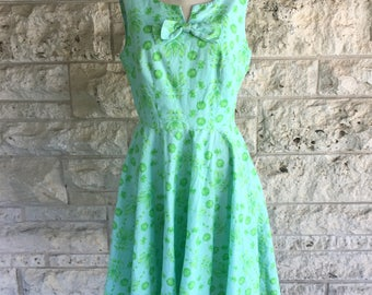 60's Dress Neon Green Floral Dress 60's Small or Some Mediums Garden Party Dress Mad Men Bow Dress Size 7 or Size 8 Mid Century Floral