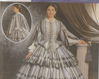 Civil War Era Gown Costume Pattern Simplicity 9761 Sizes 14 - 20 Uncut