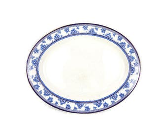 Vintage Oval Serving Platter FLOW BLUE 14 Inch Torbrex Pattern Stanley Pottery Co Cobalt Blue Floral Greek Key Design Gold Edge