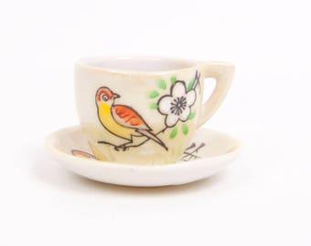 Vintage Bird Tea Cup Miniature Teacup Saucer Japan Porcelain Iridescent Bird Of Paradise Cherry Blossom
